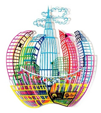 "Big apple - 30"" x 35,5"" - Sculpture metal 3D"