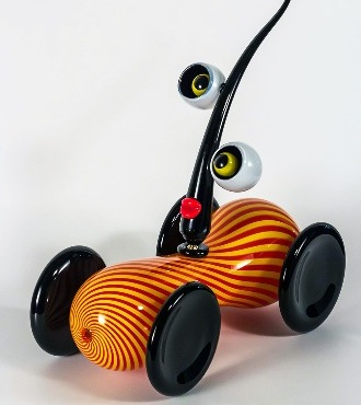 Psycko car - Glass sculpture