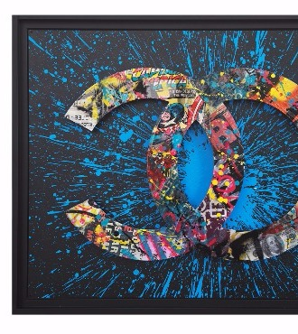 Chanel street box bleue - 81 x 65 x 5 cm - Acrylique, collage sur aluminium