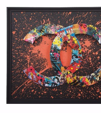 Chanel street box orange - 81 x 65 x 5 cm - Acrylique, collage sur aluminium