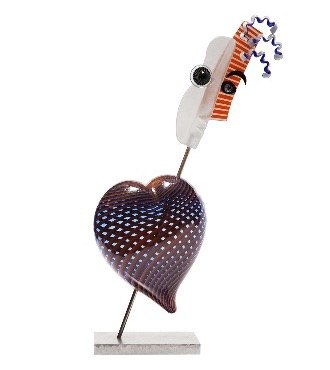 "Cupidon - Glass sculpture - 24,8"" x 14,1"""