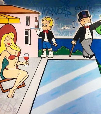 "Monopoly and Richie with Blonde Girl - 118"" x 79"" inch - mixed media"