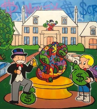 "The Money Mansion - 66"" x 106"" inch - mixed media"