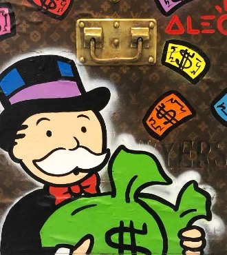 "Monopoly Holding Money bags LV - 19,5"" x 25"" inch - mixed media"