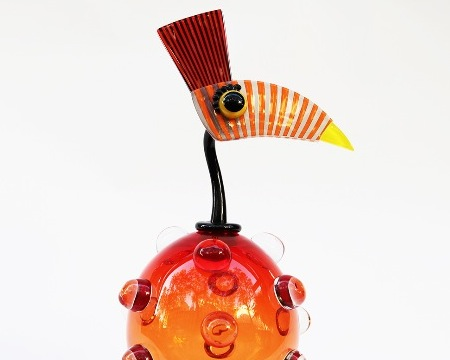 Bubble perroquet - Glass sculpture