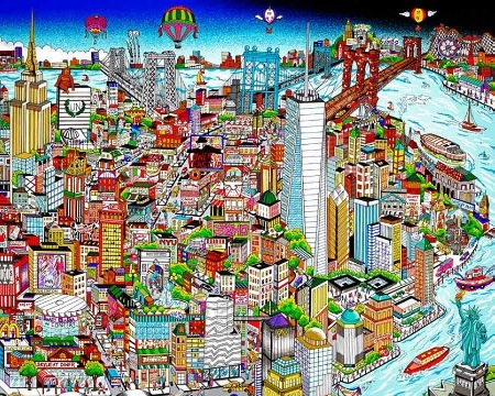 "Manhattan…Island of hopes and dreams - 68"" x 27,7"" - Serigraphy 3D"