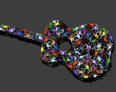 "Pop music - 47"" x 18"" - Sculpture metal 3D"