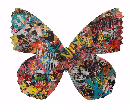 Butterfly - 100 x 81 x 3 cm - Acrylique, collage sur aluminium