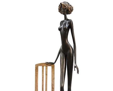 "Chantal - 69"" - Bronze sculpture, unique work"
