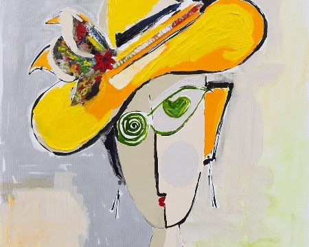 "Dame au chapeau jaune - 36"" x 28,5"" - Mixed media on canvas"