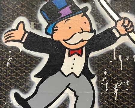 "Monopoly Dancing WITH a Cane Goyard Suitcase - 19"" x 23"" inch - mixed media"
