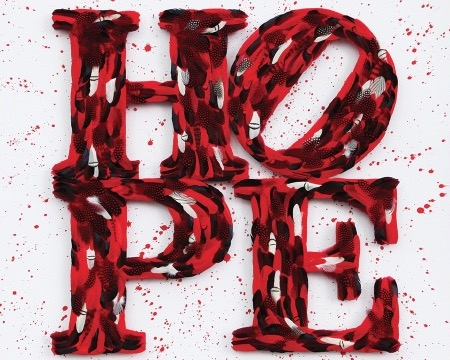 Hope - Tribute to Indiana - 120 x 120 cm - Plumes et dessin