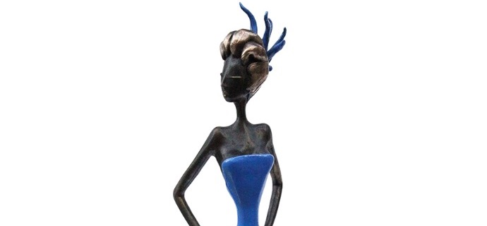 "Molly - 16"" - Bronze sculpture, unique work"