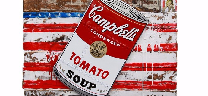 "Campbell soup - 33,4"" x 43,3"" - Mixed media on wood"