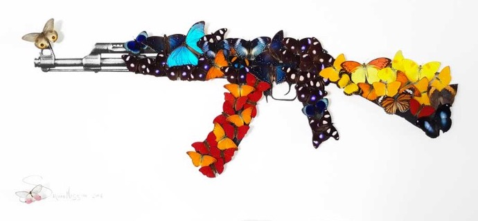 "AK47 - Acrylic drawing on paper with mounted butterflies - 33,5""x51""x3,9"""