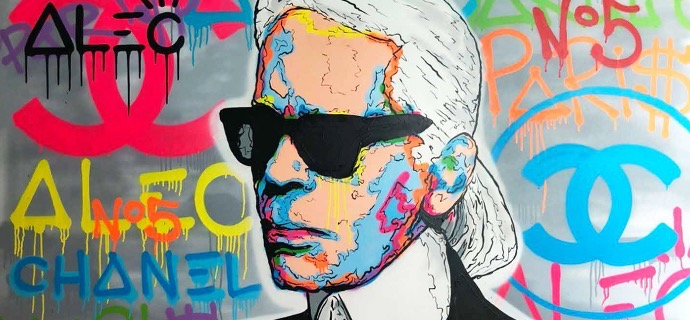 "Karl Lagerfeld Chanel Icon - 48"" x 72"" inch - mixed media"