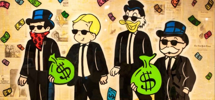 "Monopoly Richie Scrooge Monopoly Reservoir Dogs - 60"" x 84"" inch - mixed media"