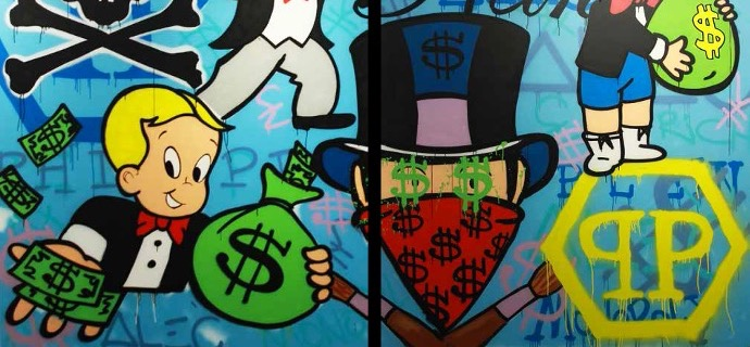 "Monopoly Mask Philippe Plein - 69"" x 90"" inch - mixed media"