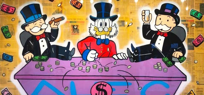 Monopoly & Scrooge Sitting In Table Game - 300 x 200 cm - Technique mixte sur toile