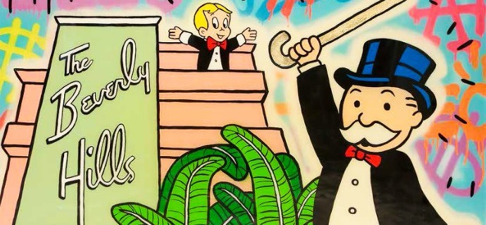 "Monopoly Richie Top Of Beverly Hills Hotel - 48"" x 36"" inch - mixed media"